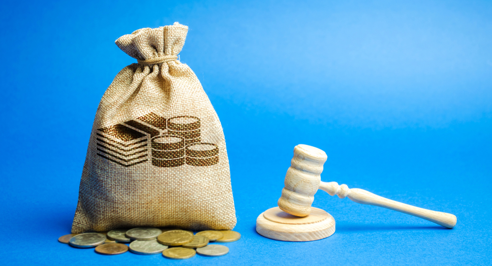 Wooden gavel with a bag of money