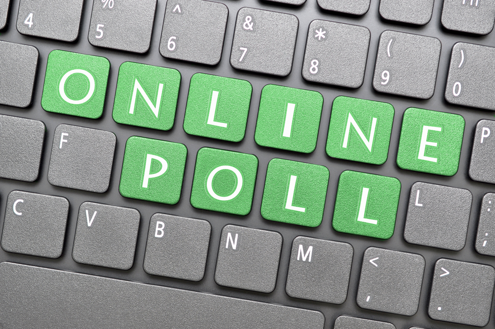 Online poll on computer keyboard
