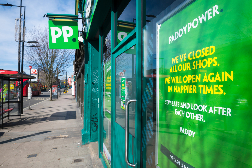Paddy Power shop in London closed during coronavirus lockdown