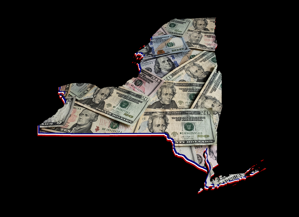 New York state map covered in dollars