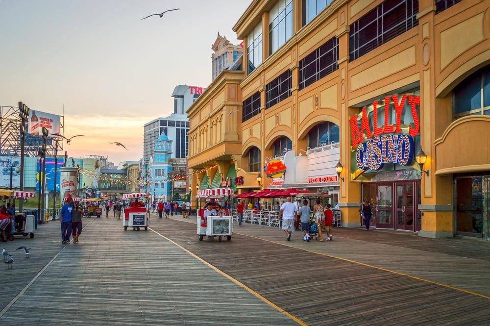 Bally's casino sign by Atlantic City boardwalk