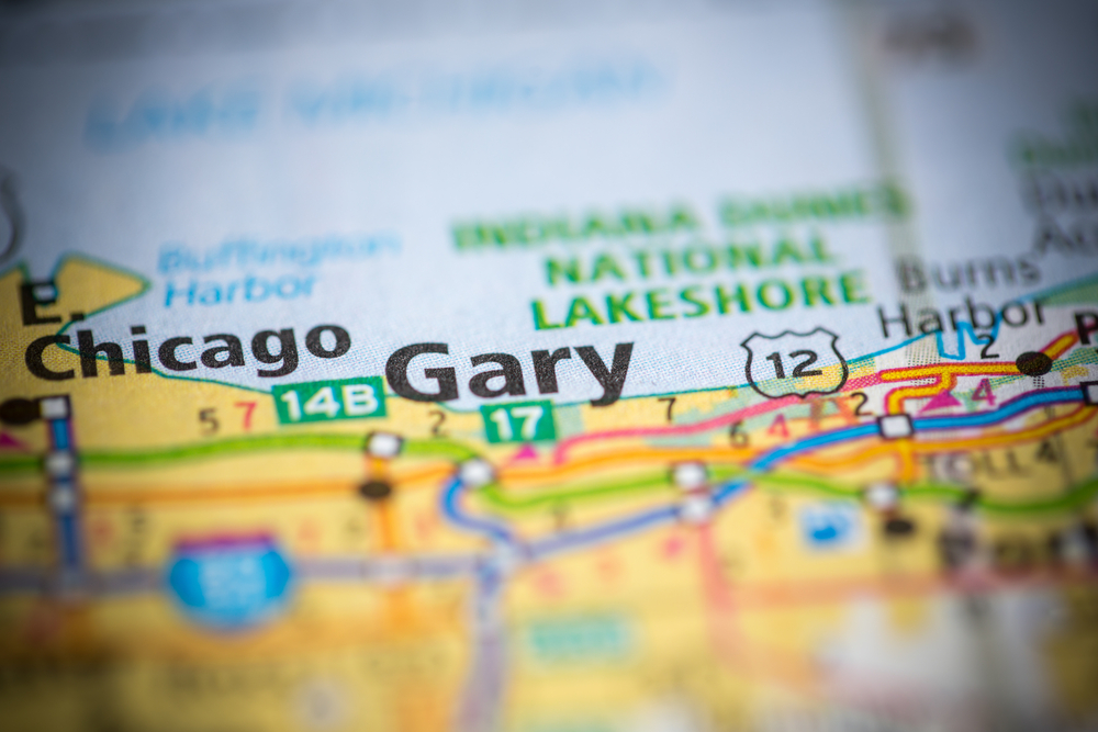map close-up of the city of Gary in Indiana