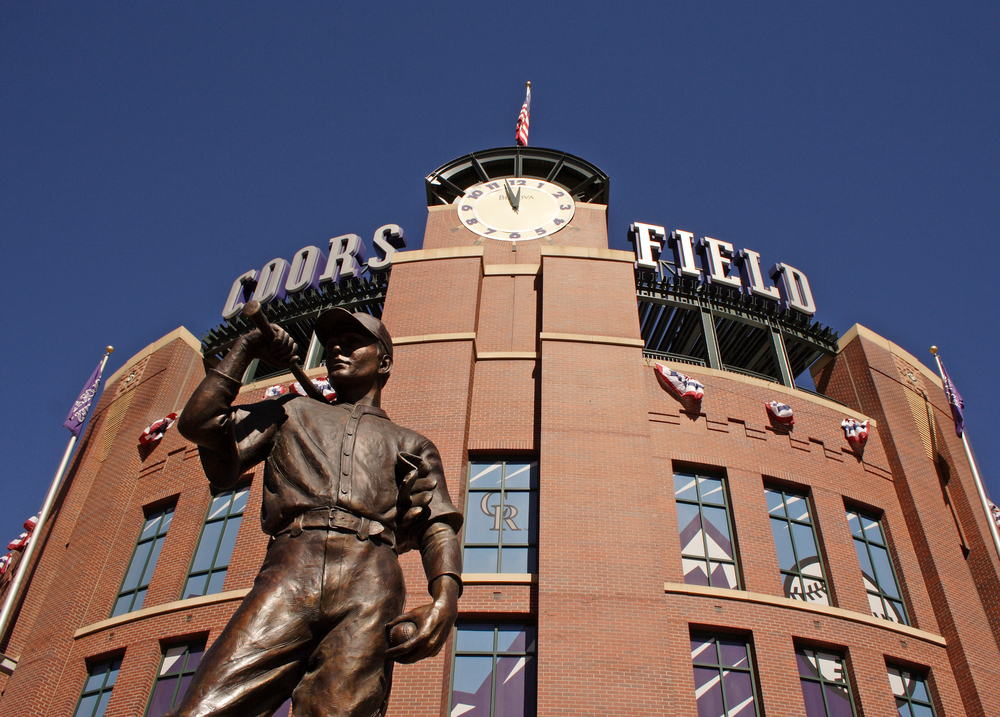 Statue of baseball player outside Coors Field stadium in Denver, Colorado