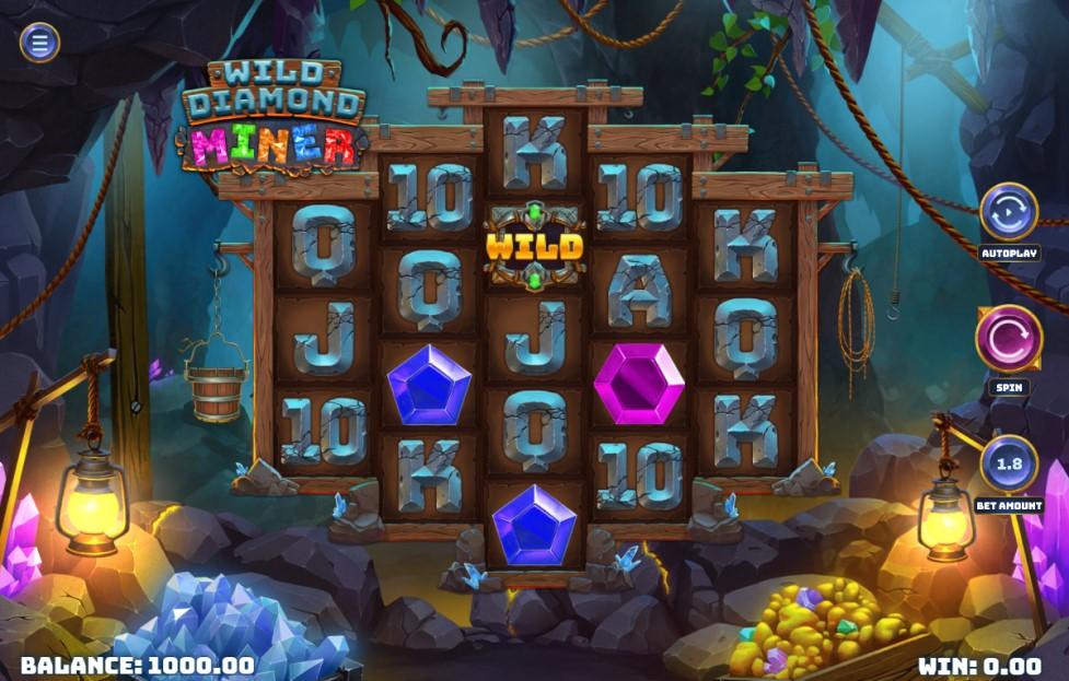 Wild Diamond Miner slot reels by Woohoo Games