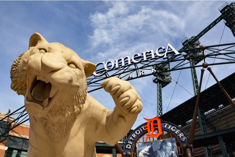 Tiger statue at the entrance to Comerica Park