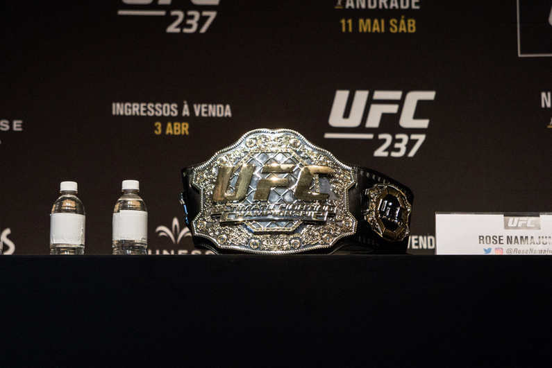 UFC belt at press conference
