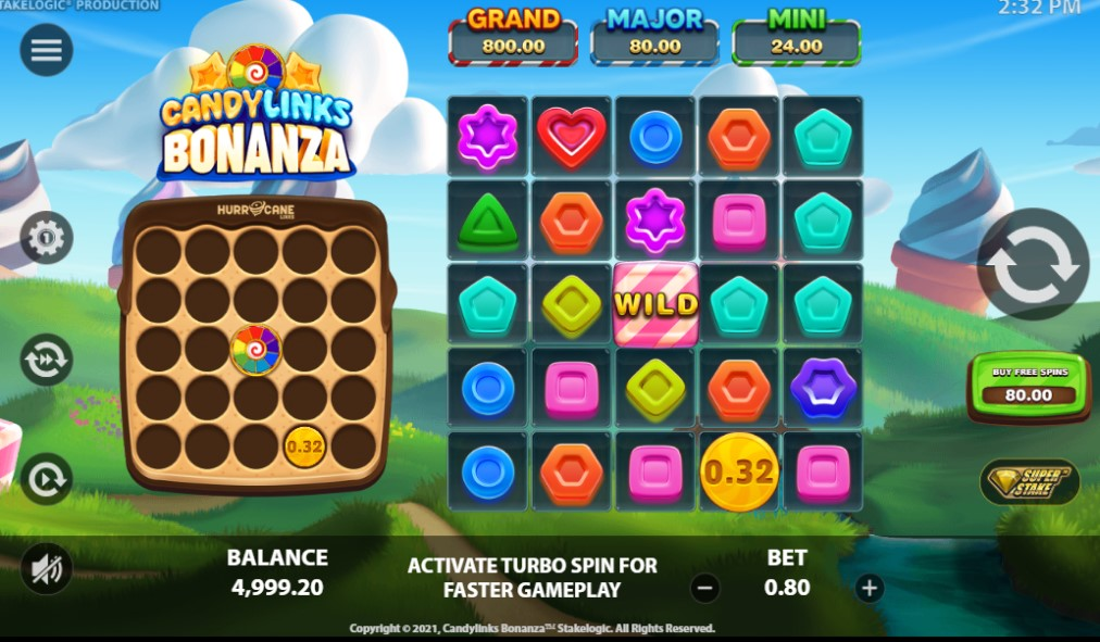 Candylinks Bonanza slot reels by Stakelogic