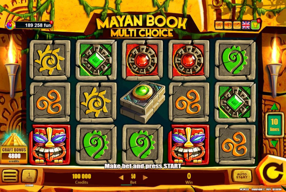 Mayan Book Multi Choice slot reels by Belatra Games