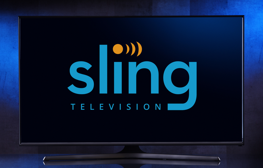 Sling logo on television screen
