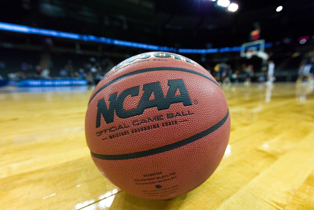 A basketball with NCAA logo