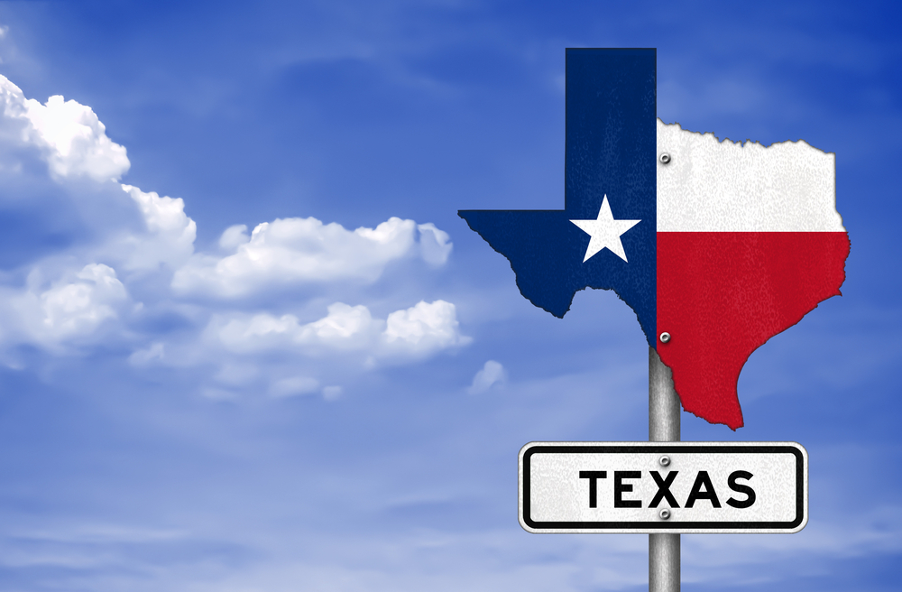Texas road sign in the shape of the state's map
