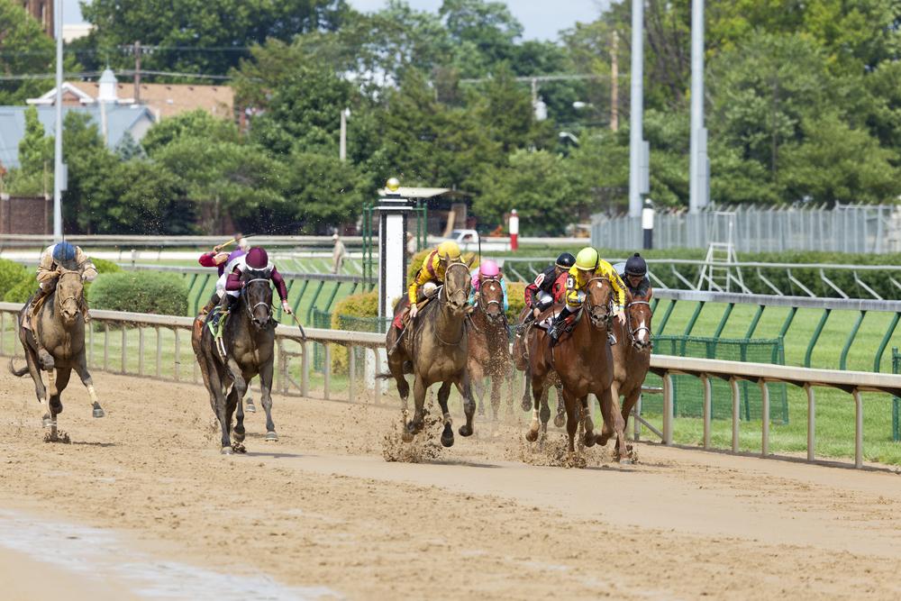 Horses racing at Churchill Downs, Kentucky