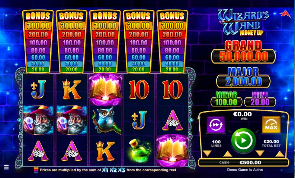 Wizard's Wand Money Up slot reels by Ainsworth