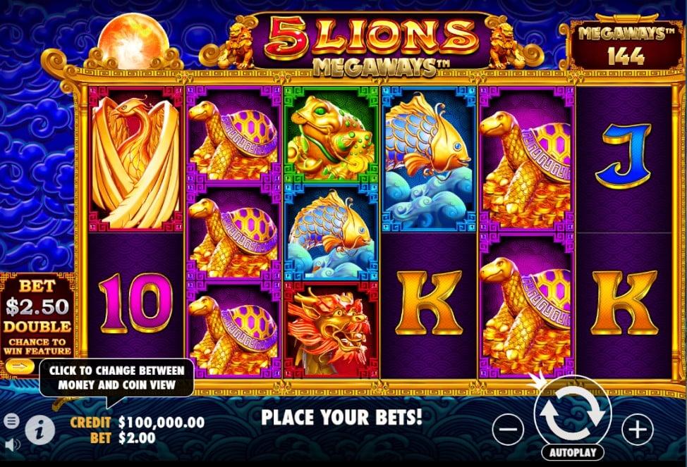 5 Lions Megaways slot reels by Pragmatic Play