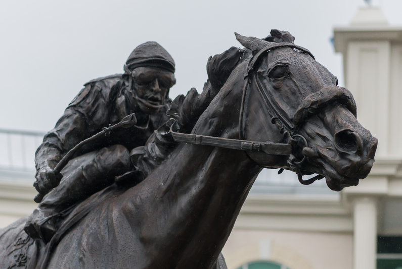 Closeup of Barbaro statue at Churchill Downs