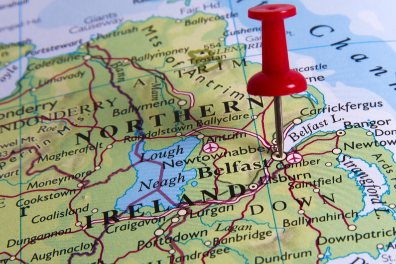 Northern Ireland map with pin on Belfast