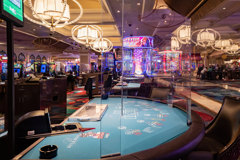 Bellagio gaming table with plexiglass barriers