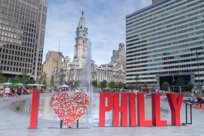 """I LOVE PHILLY"" sign in downtown Philadelphia"