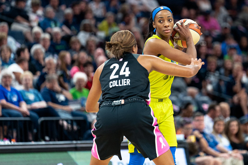 Glory Johnson of the Dallas Wings guarded by Napheesa Collier of the Minnesota Lynx