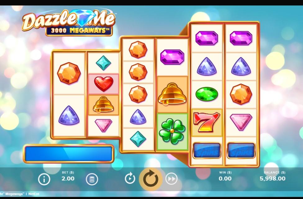 Dazzle Me Megaways slot reels by NetEnt
