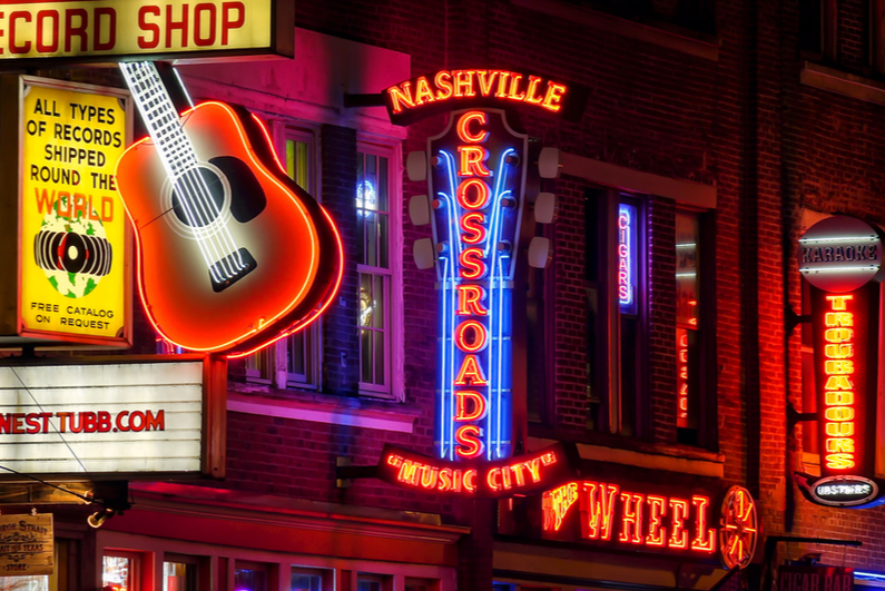 neon signs on Broadway Street in Nashville
