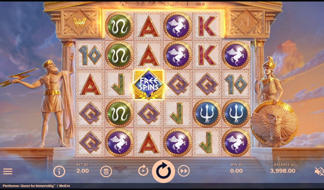 Parthenon: Quest for Immortality slot reels by NetEnt