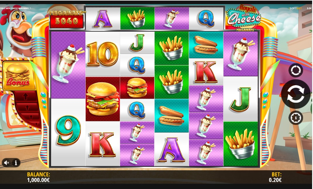 Royale With Cheese Megaways slot reels by iSoftBet