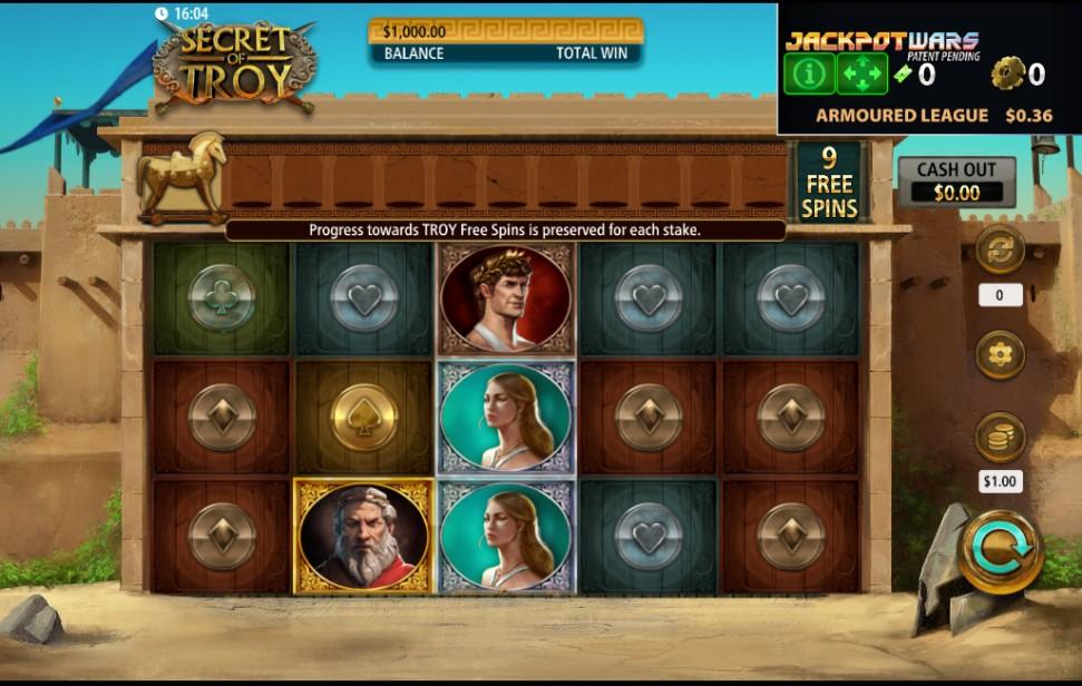 Secret of Troy Jackpot Wars slot reels by SG Digital