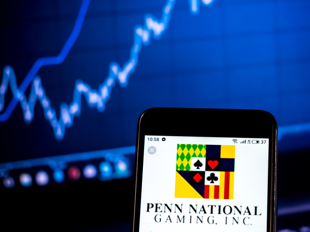 Penn National Gaming logo on smartphone