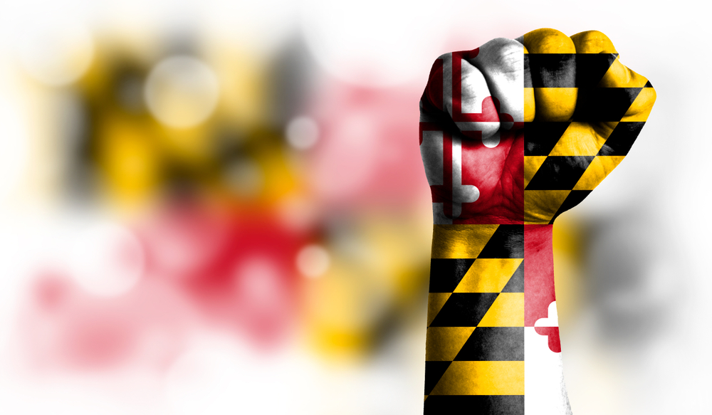 A fist in Maryland state colours