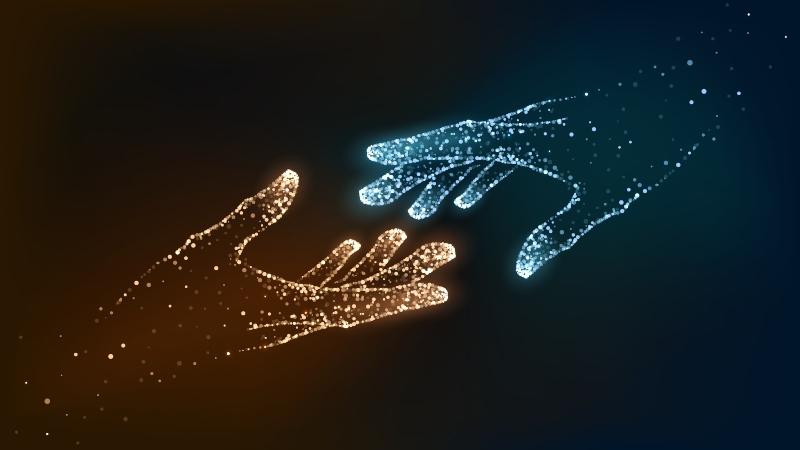 two digitally drawn hands about to touch