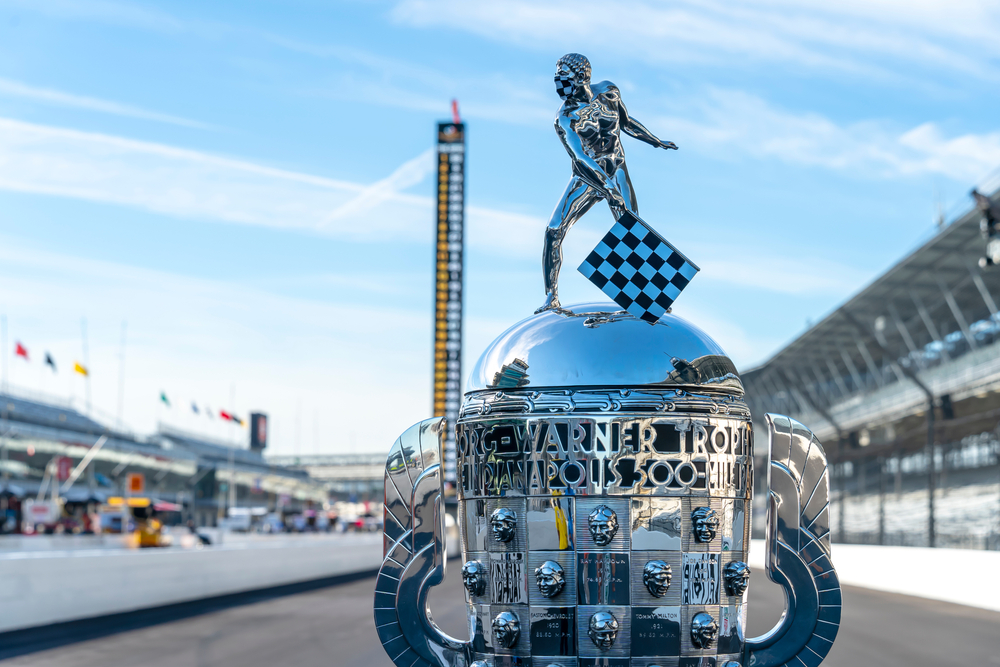 Borg Warner Trophy on display at Indianapolis 500 racetrack