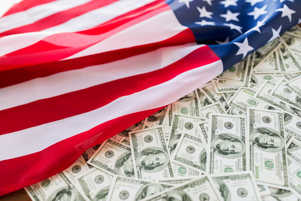 US flag with dollars