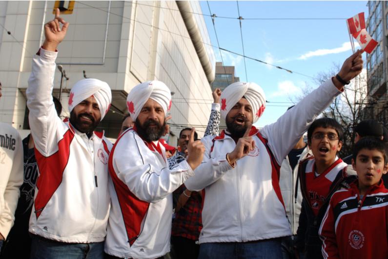 Canadian sports fans celebrating