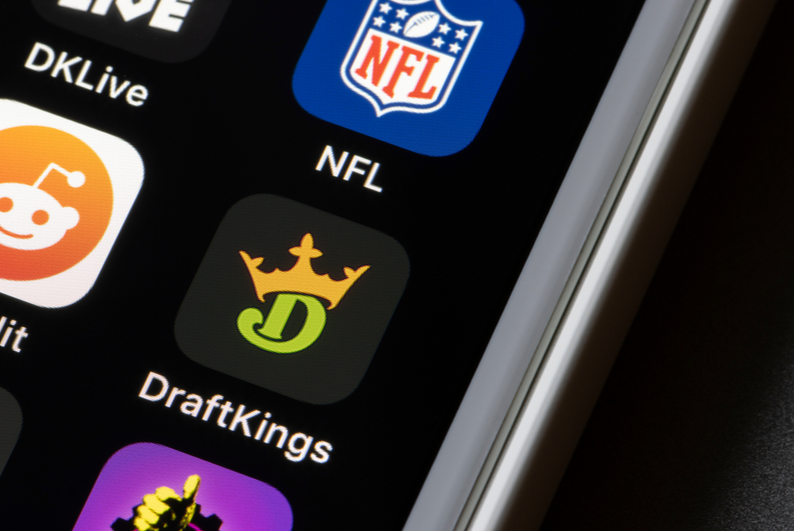 DraftKings app icon on a smartphone