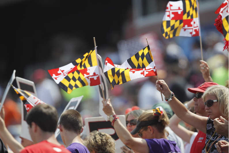 Fans waving Maryland flags