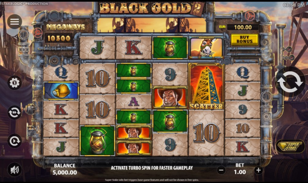 Black Gold slot reels by Stakelogic