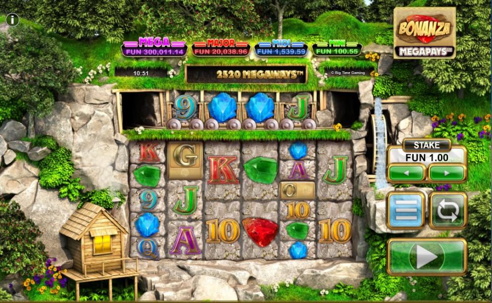 Bonanza Megapays slot reels by Big Time Gaming