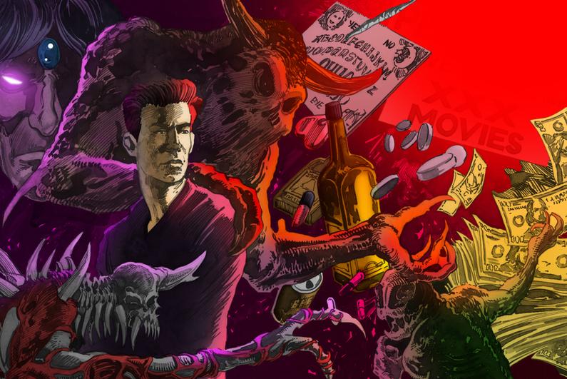 Illustration of demons tempting a man