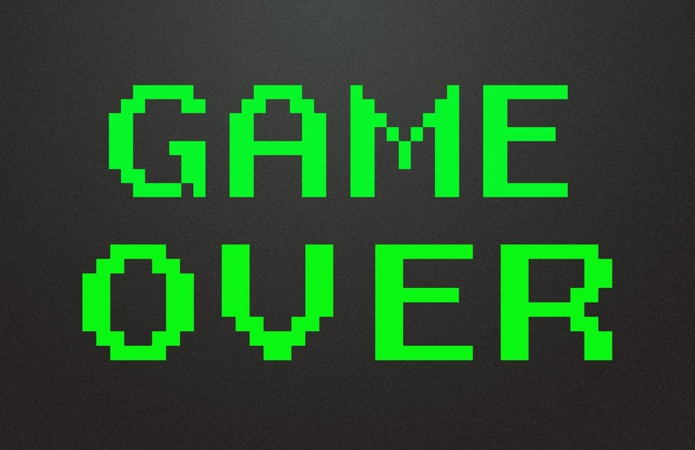 Game Over words in green on black screen