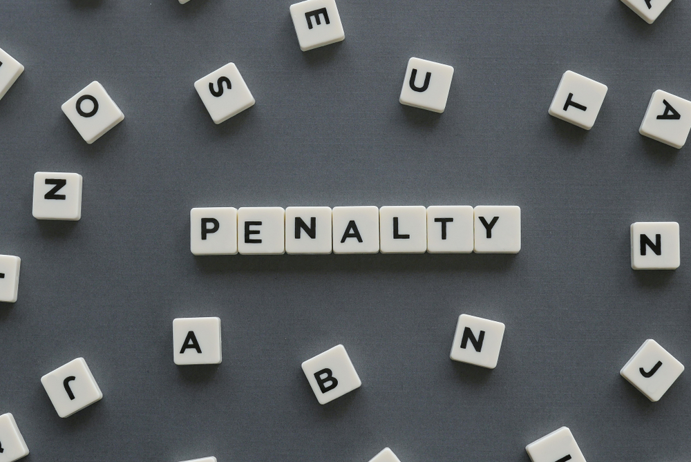 letter squares spell out the word penalty