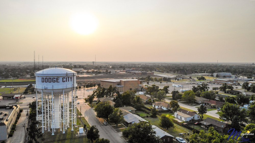 Aerial view of Dodge City in Kansas, US