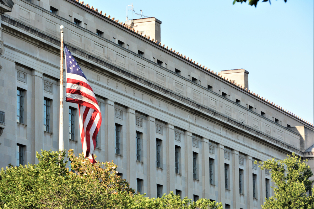 The Department of Justice building in the US