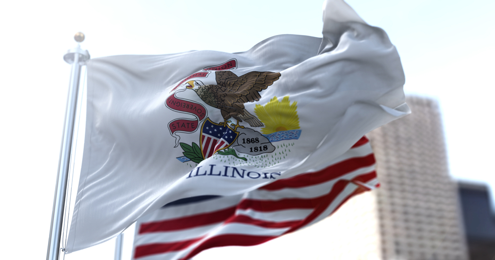 Illinois and US flags