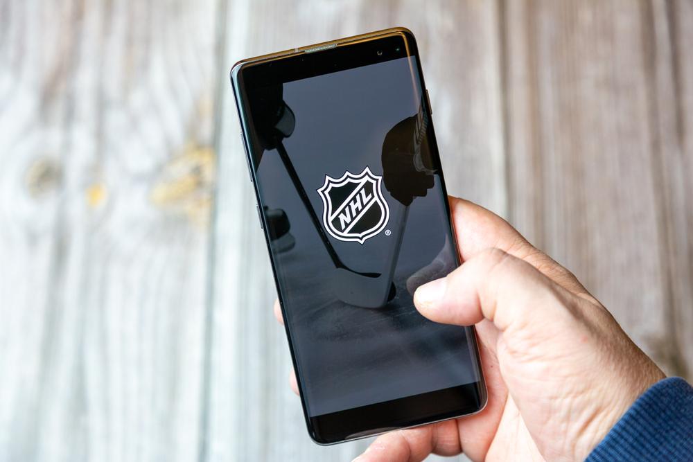 NHL logo on a mobile phone screen