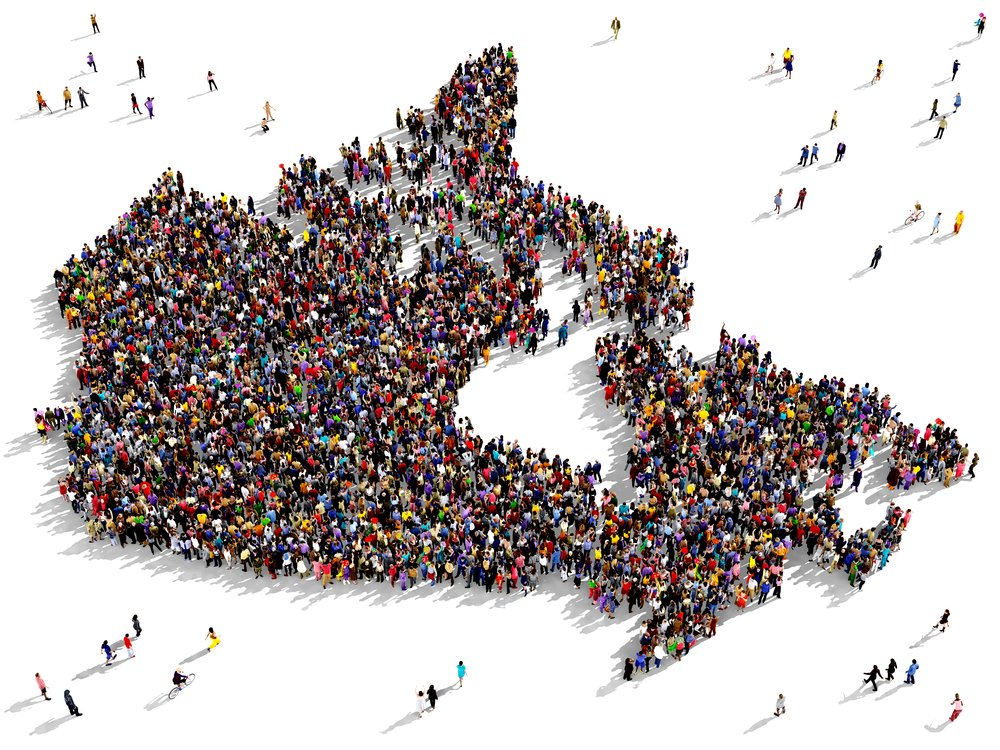 Map of Canada made with people
