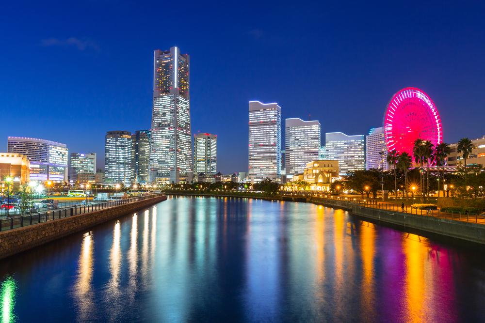 The city of Yokohama at night