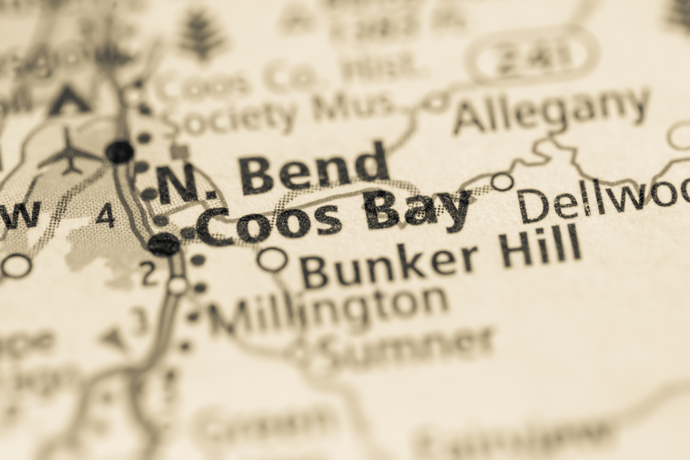 map of Coos Bay in North Bend