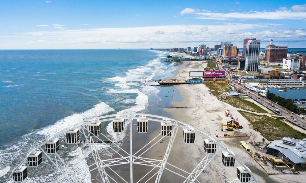 Sky and coastline of Atlantic City, New Jersey