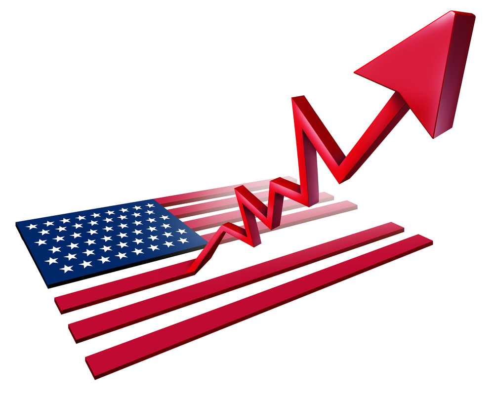 US flag graphic depicting growth